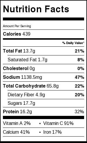 Vegan Pad Thai Nutrition Information