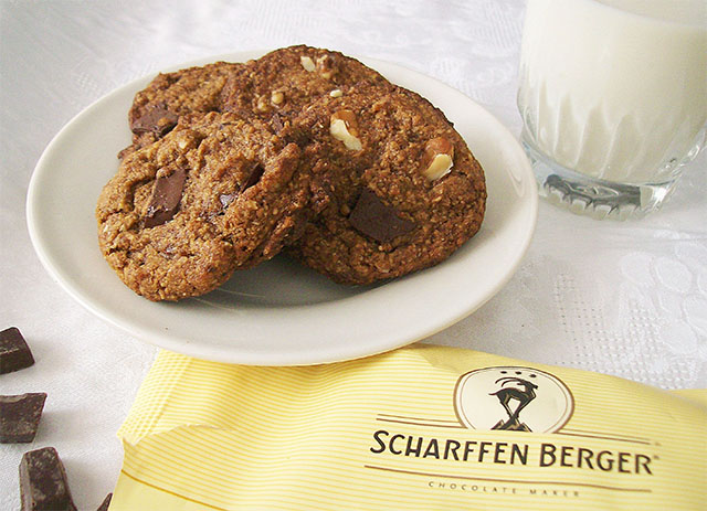 Vegan Chocolate Chip Cookies, made with Scharffen Berger semisweet baking chunks