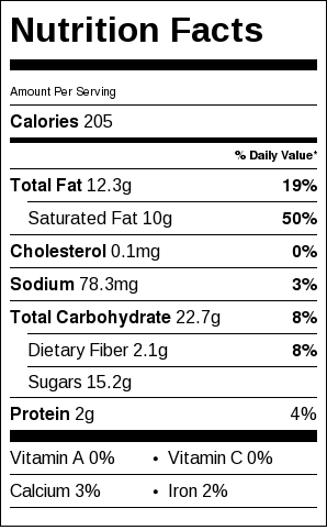 Vegan Chocolate Chip Cookies, nutrition information
