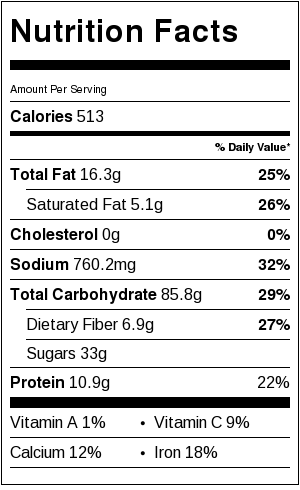 Asian Alfredo Noodles Nutrition Label