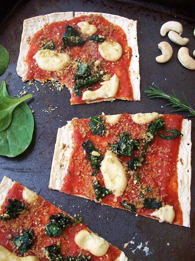 Spinach-Ricotta Flatbread Pizza