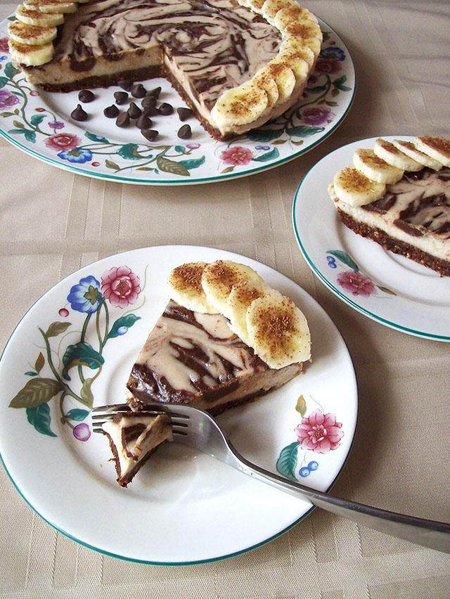 Vegan Chocolate Swirl Banana Cheesecake