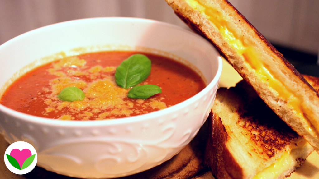 Vegan grilled cheese and tomato soup